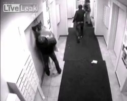 Drunk man hangs his dog when he enters elevator and the dog on leash stays outside