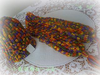 ニットマフラー帽子セット黄&紫
