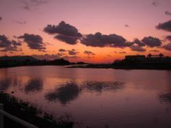 河口の夕日