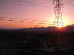 鈴鹿山脈の冬の夕暮れ