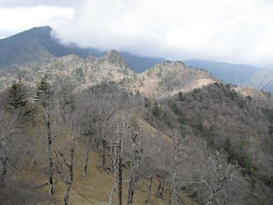 天狗山から釈迦ヶ岳方面