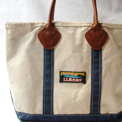 L.L.Bean LEATHER-HANDLE BOAT&TOTE BAG (S/WhitexBlue)