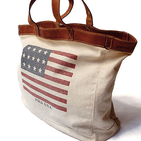 Polo Ralph Lauren CANVAS & LEATHER TOTE BAG (Stars&Stripes)