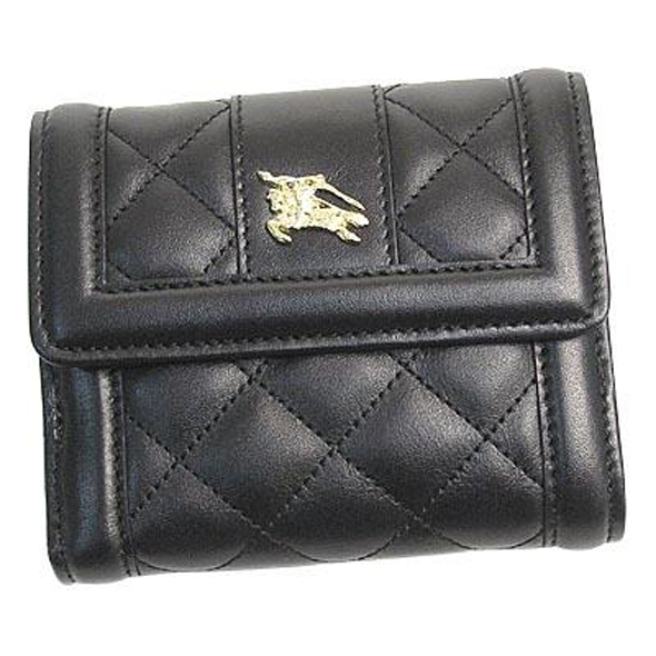BURBERRY(バーバリー)CRED COIN QUL QUILTED LEATHER Wホック折り財布