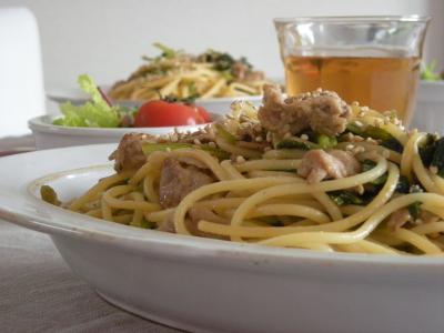 小松菜と豚肉の和風パスタ_convert_20091230143442