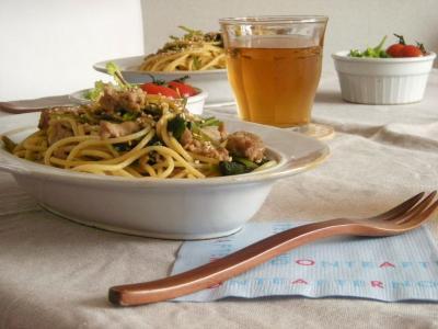 小松菜と豚肉の和風パスタ3_convert_20091230143457