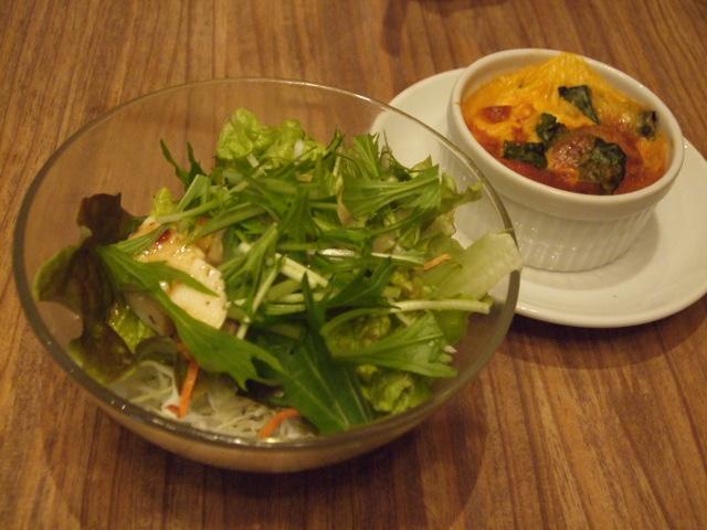 豆腐と水菜のサラダとココット