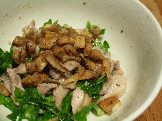 セロリの葉と鶏肉のサラダ