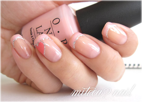 OPI #SRAL9 Pink Cup Cake(ピンクカップケーキ)でハートフレンチ