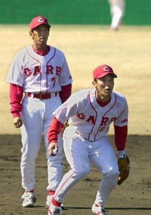 2 2001年02月15日 野村謙二郎内野手と守備練習をする(宮崎県日南市の天福球場)