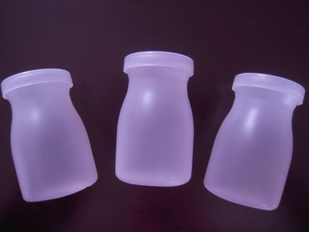 セリア☆ ミルクボトル型フタ付きデザートカップ☆2