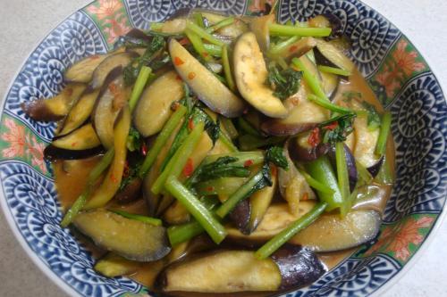 100502-030なすと小松菜の甘辛味噌炒め(縮小)