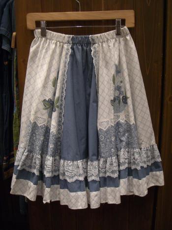 レース付きスカート 白×水色