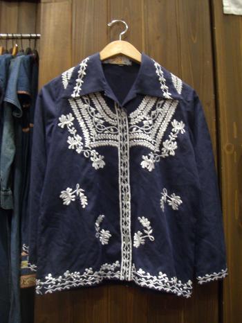 刺繍コットンシャツ ネイビー
