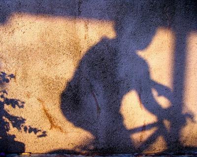 影 光 自転車 人 壁