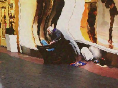 老人 ピアノ 弾く 楽器 ストリート 街