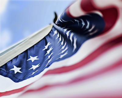 アメリカ星条旗 俯瞰 空