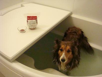 今日はルビーソルト風呂です