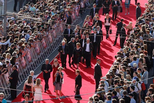 Red carpet leading to the Embassy Theatre,