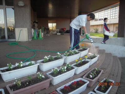 平成22年6月3日  八中花植え作業 011
