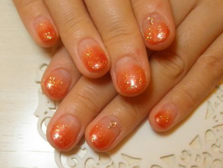 アジアンカラーオレンジ カラーグラデーションジェルネイルデザイン ネイルサロンpasiio銀座有楽町ネイリストえりブログ