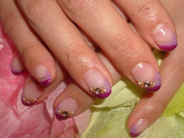 秋色紫クロスフレンチ大人ネイル