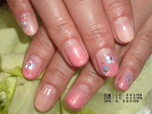 春色2色カラーグラデーションホロお花ネイル