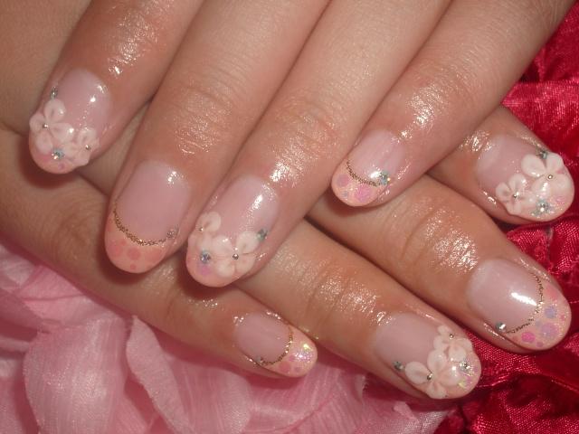 ピンク&お花HAPPYブライダルネイル