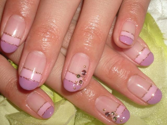 ピンク×パープルダブルフレンチネイル