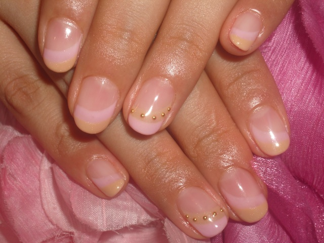 ピンク×キャメルダブルフレンチネイル