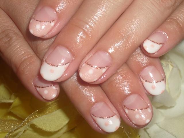 ピンク×ホワイト☆ラブリードットフレンチネイル