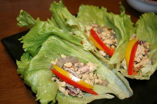 炒り豆腐のレタス巻き