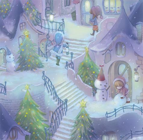 クリスマスの町イラスト