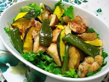 鶏の唐揚げとお野菜達