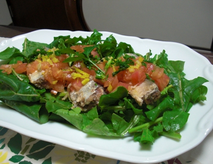 オイルサーディンとルッコラのサラダ
