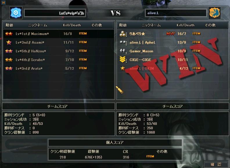 aliveL戦