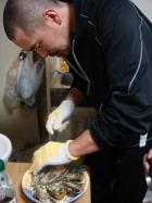 今回は牡蠣調理係りのテツ