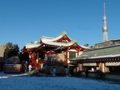亀戸天神本殿と東京スカイツリー