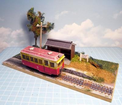 軽便鉄道停留所ペーパークラフトジオラマ06