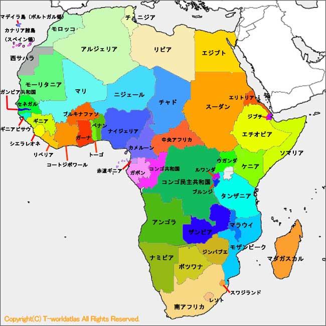 すべての講義 アフリカ地図 国名入り : 世界地図・アフリカ (2009/12/05 ...