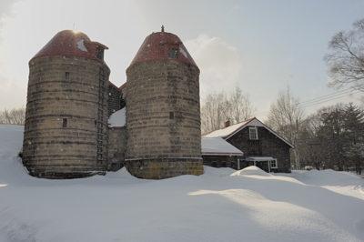 2つ並んでの大き目のサイロはさすがに珍しい、農業専門学校で保存されてます