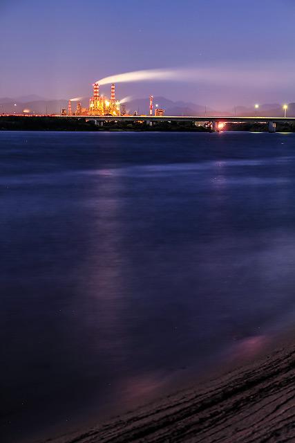 王子製紙 月夜 夜景撮影 大山 日野川