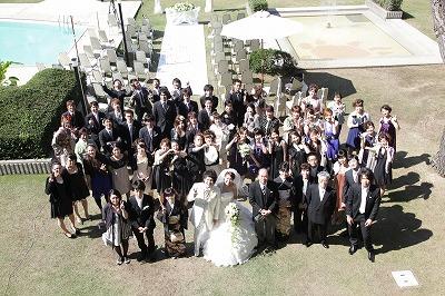 挙式後の集合写真