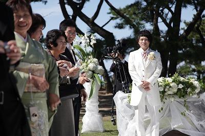 挙式 新婦を出迎える新郎
