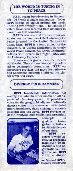 RADIO FOR PEACE INTERNATIONAL RFPI Global Community Radio
