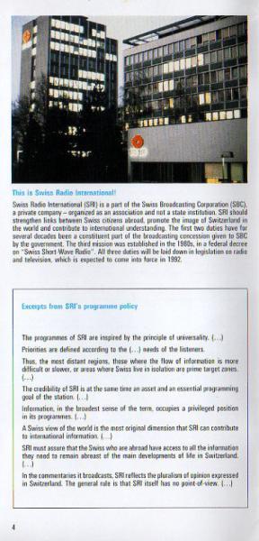 1291-1991 Switzerland, Swiss Radio International