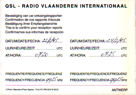 RADIO VLAANDEREN INTERNATIONAAL(ベルギー)QSL