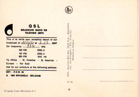 BRT BELGISCHE RADIO EN TELEVISIE (BRT) QSL