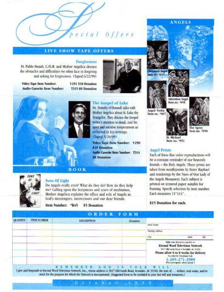 EWTN GLOBAL CATHOLIC NETWORK Family Newsletter October 1999 Number 162