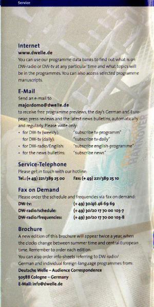 DEUTSCHE WELLE Programmes and Reception Summer 2000